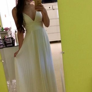PROM DRESS - WHITE PLEATED OPEN BACK
